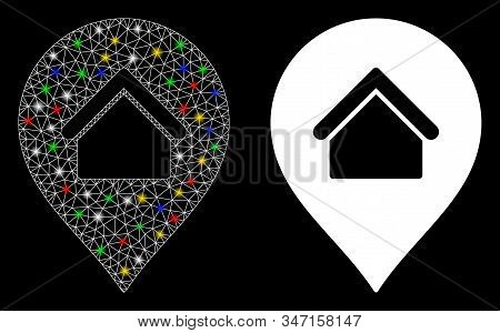 Flare Mesh Residence Marker Icon With Glow Effect. Abstract Illuminated Model Of Residence Marker. S