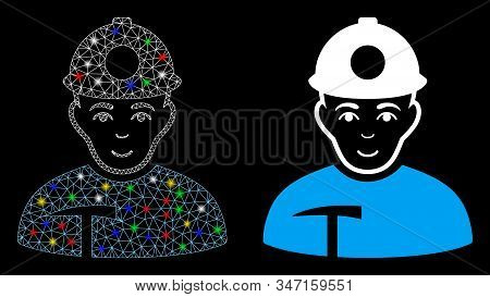 Glowing Mesh Miner Icon With Sparkle Effect. Abstract Illuminated Model Of Miner. Shiny Wire Frame P