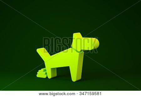 Yellow Dog Pooping Icon Isolated On Green Background. Dog Goes To The Toilet. Dog Defecates. The Con