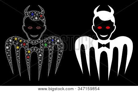 Bright Mesh Gentleman Spectre Devil Icon With Glare Effect. Abstract Illuminated Model Of Gentleman