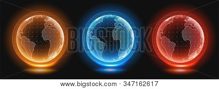 Planet Earth Hologram Templates. Digital Globe World. Holographic Image Of Planet Earth. Hud Style V