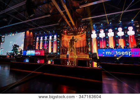 Moscow - December 23 2019: Esports Counter-strike: Global Offensive Event. Big Illuminated Main Stag