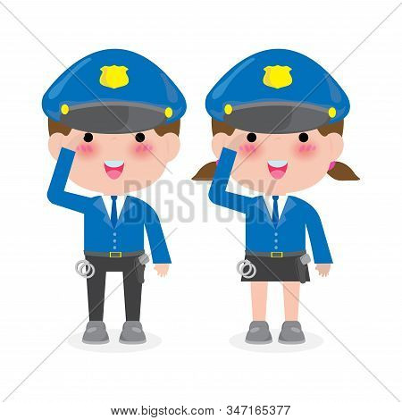 Police Officers On White Background, Woman And Man Cops Characters,security In Uniform Vector Illust