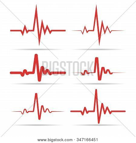 Red Heart Rhythm Symbols. Medicine Health Symbol Set, Heart Beat Line Vector Images, Hospital Cardio