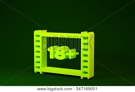 Yellow Play Video With Inscription 18 Plus Icon Isolated On Green Background. Age Restriction Symbol