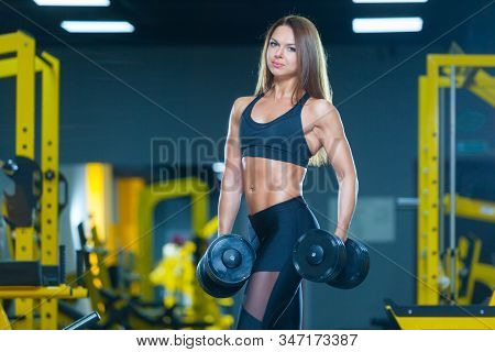 Slim Athletic Woman Holding Dumbbells In The Gym. Front View. Muscles Woman Showing Sixpack Abs.