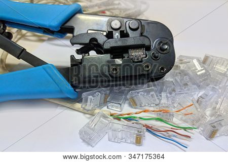 Crimper, Connectors ,rj45 And Ethernet Cable For Build And Repair Lan Cable