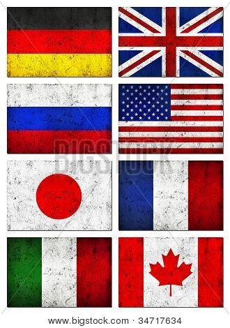 Grunge Great 8 (g8) Countries Flag