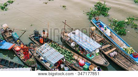 Nga Nam Floating Market In Mekong Delta, Vietnam