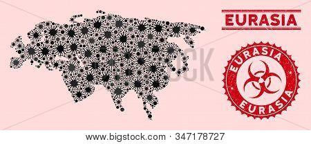 Coronavirus Mosaic Eurasia Map And Red Grunge Stamp Watermarks With Biohazard Sign. Eurasia Map Coll