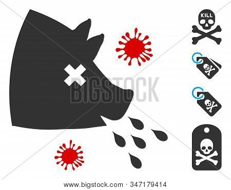 Swine Flu Icon. Illustration Contains Vector Flat Swine Flu Iconic Symbol Isolated On A White Backgr