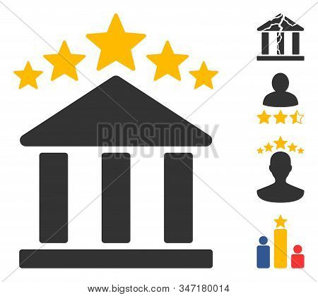 Bank Rating Icon. Illustration Contains Vector Flat Bank Rating Pictograph Isolated On A White Backg