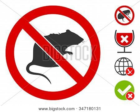 No Rats Icon. Illustration Contains Vector Flat No Rats Pictograph Isolated On A White Background, A