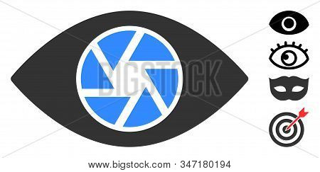 Shutter Eye Icon. Illustration Contains Vector Flat Shutter Eye Pictogram Isolated On A White Backgr