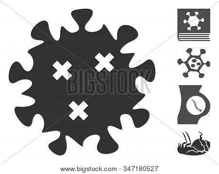 Infection Virus Icon. Illustration Contains Vector Flat Infection Virus Pictograph Isolated On A Whi