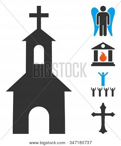 Catholic Kirch Icon. Illustration Contains Vector Flat Catholic Kirch Pictograph Isolated On A White