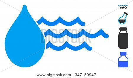 Water Icon. Illustration Contains Vector Flat Water Pictograph Isolated On A White Background, And B