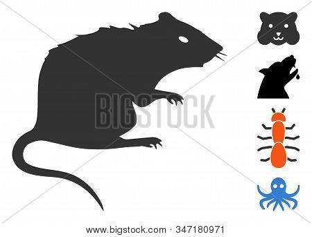 Rat Icon. Illustration Contains Vector Flat Rat Pictograph Isolated On A White Background, And Bonus