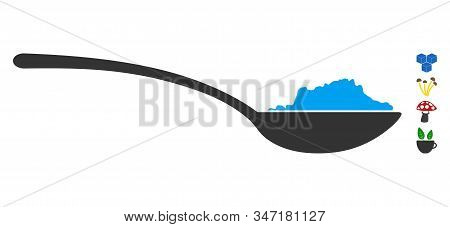 Powder Spoon Icon. Illustration Contains Vector Flat Powder Spoon Pictograph Isolated On A White Bac