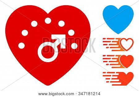 Love Meter Icon. Illustration Contains Vector Flat Love Meter Pictograph Isolated On A White Backgro