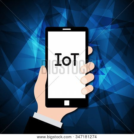 Internet Of Things Technology Abstract Hand Hold Mobile Phone Background