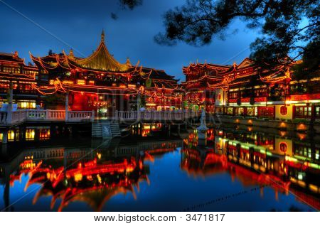 Shanghai Old Town At Night