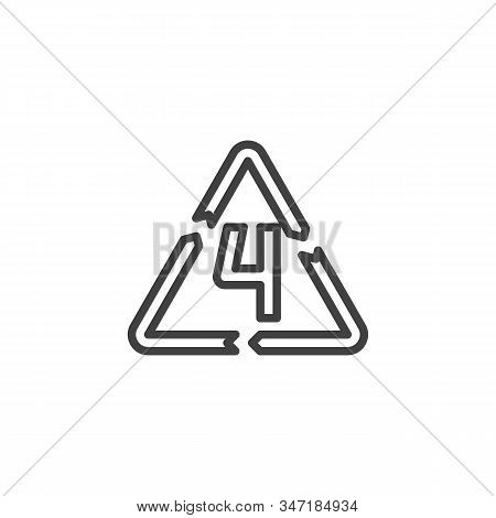 Ldpe 4, Industrial Marking Plastic Line Icon. Linear Style Sign For Mobile Concept And Web Design. L
