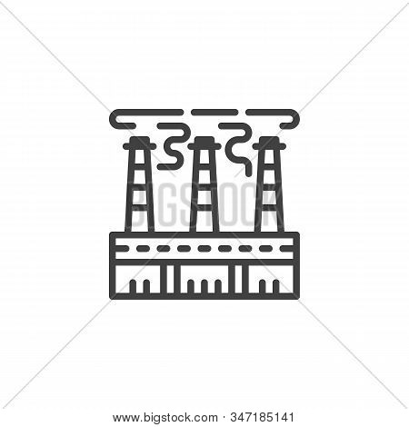 Power Plant Chimneys With Smoke Line Icon. Linear Style Sign For Mobile Concept And Web Design. Indu