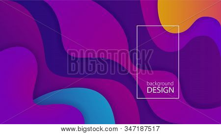Purple Fluid Background Design. Liquid Ameoba Shapes Composition. Funky Design Posters. Fluid Backgr