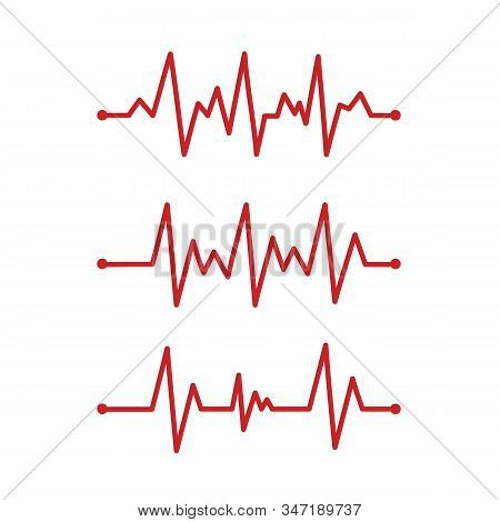 Heart Pace Line. Cardiology Clinic Logo. Abstract Ecg Heartbeat Line. Valentines Day Design.