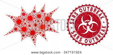 Coronavirus Mosaic Boom Bang Icon And Round Grunge Stamp Watermark With Sars Outbreak Text. Mosaic V