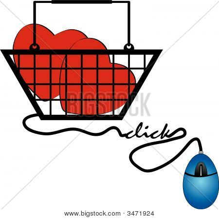 Shopping Basket With Internet Love Mouse Click.