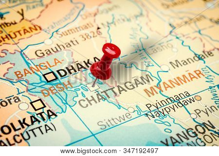 Prague, Czech Republic - January 12, 2019: Red Thumbtack In A Map. Pushpin Pointing At Chittagong Ci