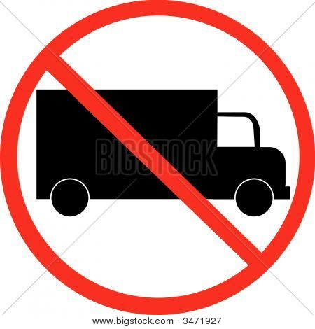 Truck With Not Allowed Symbol.