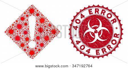 Coronavirus Collage Error Icon And Round Distressed Stamp Watermark With 404 Error Caption. Mosaic V