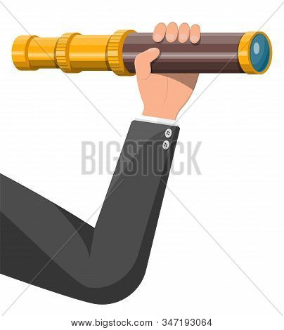 Businessman Hand With Spyglass Looking For Opportunities. Business Man With Telescope. Searches New