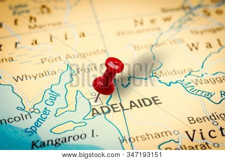 Prague, Czech Republic - January 12, 2019: Red Thumbtack In A Map. Pushpin Pointing At Adelaide City