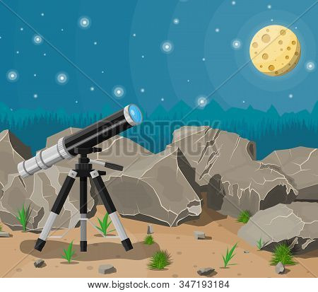Observation Through Spyglass. Nature Mountain Landscape With Telescope, Moon And Stars. Astronomy, R