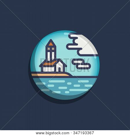 Chapel Hill By The Sea Flat Icon. Round Colorful Button, Chapel And Sea Circular Vector Sign. Flat S