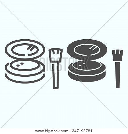 Cosmetic Makeup Powder And Brush Line And Solid Icon. Female Powder And Brush Vector Illustration Is
