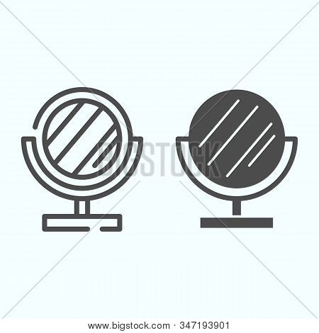 Mirror Line And Solid Icon. Small Standing Mirror Vector Illustration Isolated On White. Round Makeu