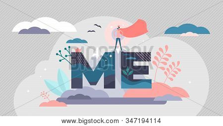 Ego Personal Mental Focus, Flat Tiny Super Hero Person Vector Illustration. Self Centered Person Soc