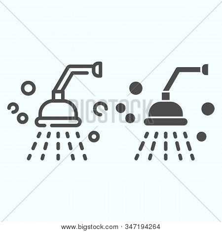 Shower Line And Solid Icon. Bathroom Shower Vector Illustration Isolated On White. Shower Spray Outl