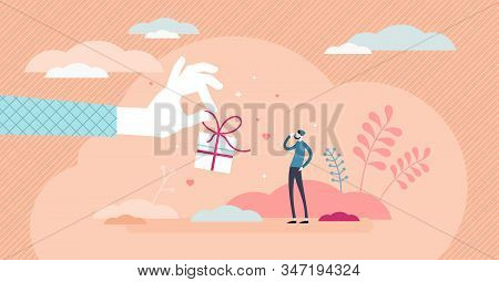 Gift Concept,flat Tiny Person Vector Illustration.stylized Abstract Scene With Large Hand Giving Gif