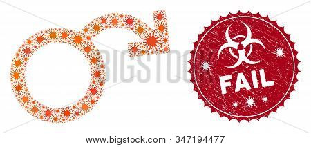 Coronavirus Mosaic Impotence Icon And Round Distressed Stamp Seal With Fail Caption. Mosaic Vector I