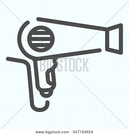 Hair Dryer Line Icon. An Electrical Device For Drying Hair Vector Illustration Isolated On White. Bl