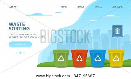 Concept Design Template Web Page Of Sorting Garbage. Recycle Bins On Cityscape Background. Sorting A