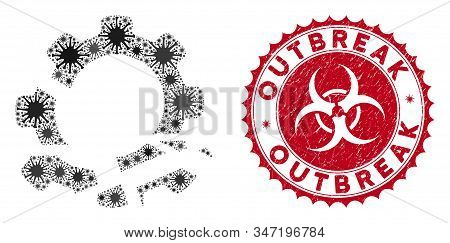 Coronavirus Collage Gear Destruction Icon And Round Grunge Stamp Seal With Outbreak Caption. Mosaic