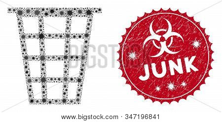 Coronavirus Mosaic Junk Icon And Round Grunge Stamp Watermark With Junk Text. Mosaic Vector Is Forme