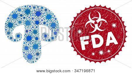 Coronavirus Mosaic Champignon Mushroom Icon And Round Grunge Stamp Seal With Fda Phrase. Mosaic Vect
